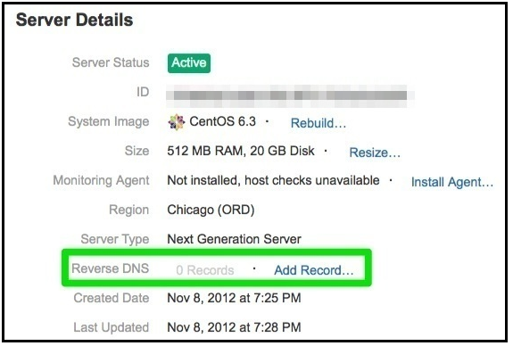 Add record link for Reverse DNS under Server Details