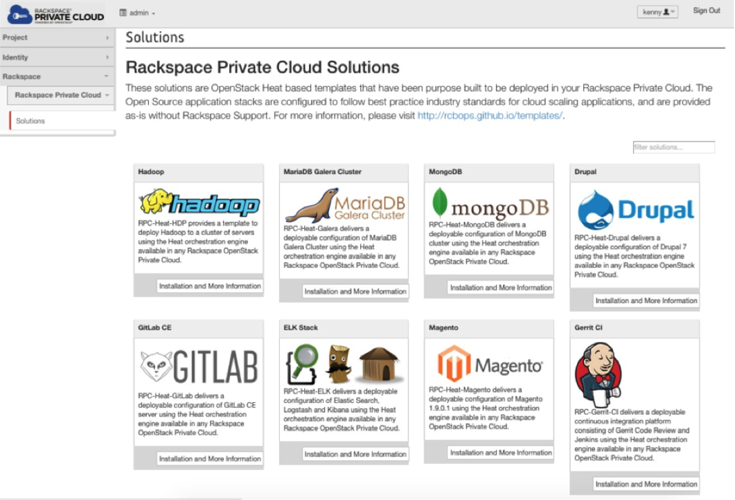 Rackspace Private Cloud Solutions tab screen shot
